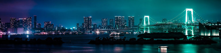 Photo of the skyline of Minato, Japan at night.